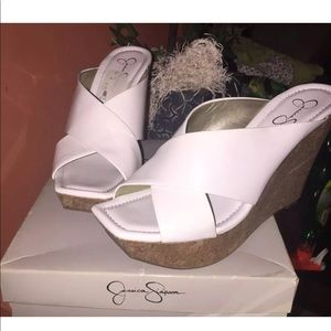 White patent leather Sandals clogs Size 9.5